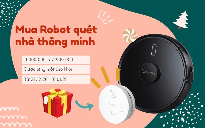 Mừng Giáng sinh giảm giá Robot quét nhà siêu thông minh 2IN1
